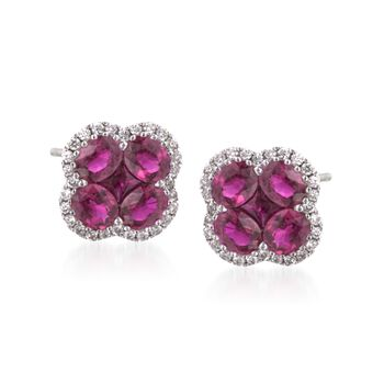 Gregg Ruth 2.65 Carat Total Weight Ruby and 0.28 Carat Total Weight Diamond Studs in 18-Karat White Gold