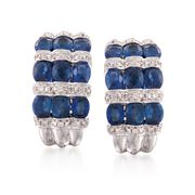 Sapphire and Diamond Hoops Gold  in 18-Karat White Gold