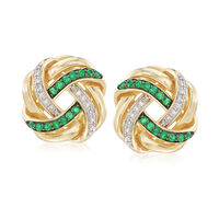 .40 ct. t.w. Emerald and .10 ct. t.w. Diamond Love Knot Earrings in 18kt Gol..