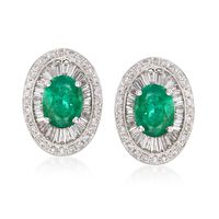 3.60 ct. t.w. Emerald and 1.63 ct. t.w. Diamond Earrings in 18kt White Gold
