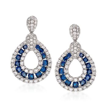 Gregg Ruth .73 Carat Total Weight Sapphire and .82 Carat Total Weight Diamond Drops in 18-Karat White Gold