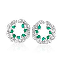 5.00 ct. t.w. Emerald and 4.70 ct. t.w. Diamond Earrings in 18kt White Gold