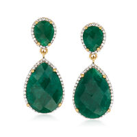 17.80 ct. t.w. Emerald and .60 ct. t.w. White Topaz Drop Earrings in 14kt Go..