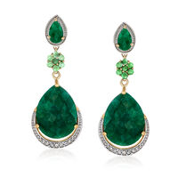 22.10 ct. t.w. Emerald and .20 ct. t.w. White Topaz Drop Earrings in 14kt Go..