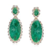 14.80 ct. t.w. Oval Emerald Drop Earrings in Two-Tone Sterling Silver