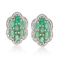 2.90 ct. t.w. Emerald and .44 ct. t.w. Diamond Flower Earrings in Sterling S..