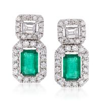 .90 ct. t.w. Emerald and .71 ct. t.w. Diamond Drop Earrings in 18kt White Gold