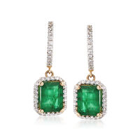 4.60 ct. t.w. Emerald and .65 ct. t.w. Diamond Drop Earrings in 14kt Yellow ..