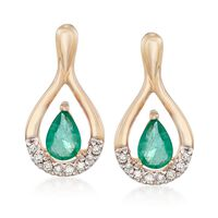 .90 ct. t.w. Emerald and .12 ct. t.w. Diamond Drop Earrings in 14kt Yellow G..