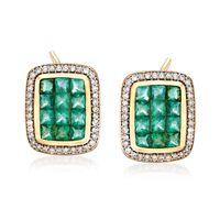 2.10 ct. t.w. Emerald and .38 ct. t.w. Diamond Frame Earrings in 14kt Yellow..