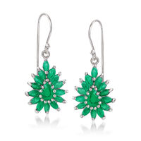3.00 ct. t.w. Emerald Cluster Drop Earrings in Sterling Silver