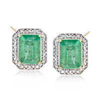 3.60 ct. t.w. Zambian Emerald and .25 ct. t.w. Diamond Frame Earrings in 14k..