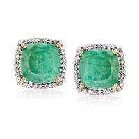 5.50 ct. t.w. Emerald and .27 ct. t.w. Diamond Earrings in 14kt Yellow Gold