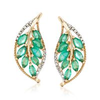 1.60 ct. t.w. Emerald and .12 ct. t.w. Diamond Leaf Earrings in 14kt Yellow ..
