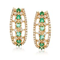 .30 ct. t.w. Emerald and .30 ct. t.w. Diamond Earrings in 14kt Yellow Gold