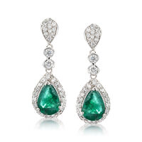 1.80 ct. t.w. Emerald and .90 ct. t.w. Diamond Drop Earrings in 14kt White G..
