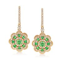 .36 ct. t.w. Emerald and .43 ct. t.w. Diamond Drop Earrings in 14kt Yellow G..