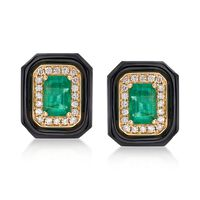 1.20 ct. t.w. Emerald and Black Onyx Earrings With .20 ct. t.w. Diamonds in ..