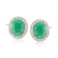 3.10 ct. t.w. Oval Emerald and .19 ct. t.w. Diamond Earrings in 14kt Yellow ..
