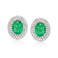 6.00 ct. t.w. Emerald and 3.85 ct. t.w. Diamond Earrings in 18kt White Gold