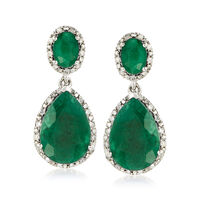 10.50 ct. t.w. Emerald and .35 ct. t.w. Diamond Drop Earrings in Sterling Si..