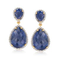 18.00 ct. t.w. Sapphire and .60 ct. t.w. White Topaz Drop Earrings in 18kt Y..