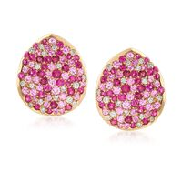 1.50 ct.T .W. Pink Sapphire and 1.60 ct. t.w. Ruby Earrings With Diamonds in..