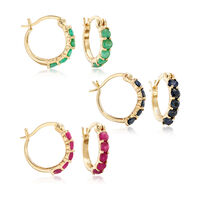 2.6 ct. t.w. Ruby, Emerald and Sapphire Jewelry Set: Three Pairs of Huggie H..