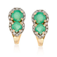 .70 ct. t.w. Emerald and .10 ct. t.w. Diamond Drop Earrings in 14kt Yellow G..