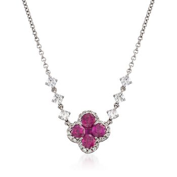 """Gregg Ruth .80 ct. t.w. Ruby and .35 ct. t.w. Diamond Floral Necklace in 18kt White Gold. 16"""""""