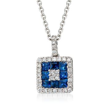 """Gregg Ruth .75 Carat Total Weight Sapphire and .25 Carat Total Weight Diamond Necklace in 18-Karat White Gold. 18"""""""
