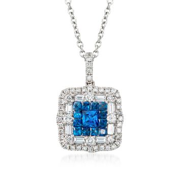 Gregg Ruth .81 Carat Total Weight Sapphire and .66 Carat Total Weight Diamond Necklace in 18-Karat White Gold. 18""