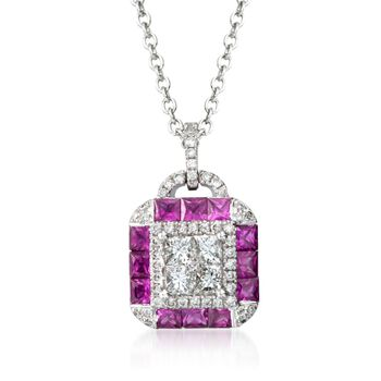 Gregg Ruth .97 Carat Total Weight Ruby And.58 Carat Total Weight Diamond Necklace in 18-Karat White Gold. 18""