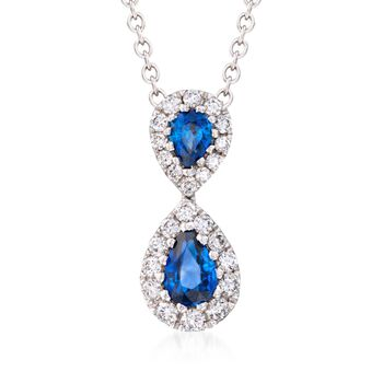 """Gregg Ruth .73 Carat Total Weight Sapphire and .36 Carat Total Weight Diamond Necklace in 18-Karat White Gold. 18"""""""