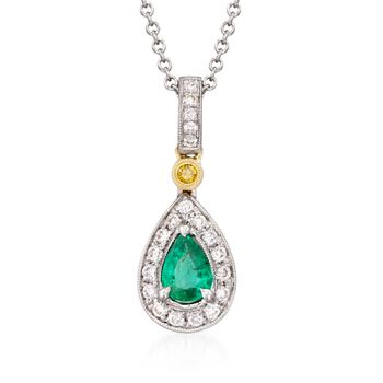 """Simon G. .22 Carat Emerald and .16 Carat Total Weight Diamond Necklace in 18-Karat Two-Tone Gold. 18"""""""