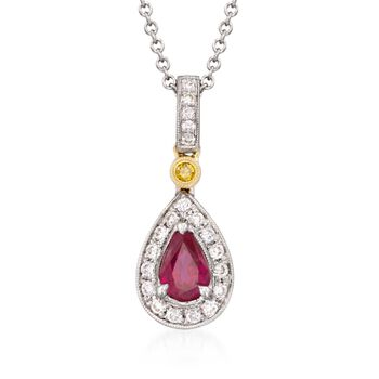 Simon G. .50 Carat Ruby and .16 Carat Total Weight Diamond Necklace in 18-Karat Two-Tone Gold. 18""