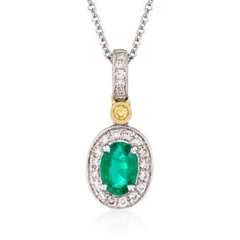 """Simon G. .45 Carat Emerald and .14 Carat Total Weight Diamond Necklace in 18-Karat Two-Tone Gold. 18"""""""