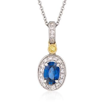 Simon G. .50 Carat Sapphire and .16 Carat Total Weight Diamond Necklace in 18-Karat Two-Tone Gold. 18""