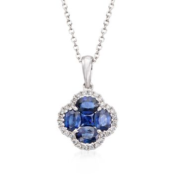 """Gregg Ruth 1.43 Carat Total Weight Sapphire and .14 Carat Total Weight Diamond Necklace in 18-Karat White Gold. 18"""""""