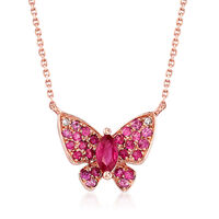 "Image of "".10 Carat Ruby and .20 ct. t.w. Pink Sapphire Butterfly Necklace in 14kt Rose Gold. 18"""""