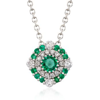 """Gregg Ruth .40 Carat Total Weight Emerald and .23 Carat Total Weight Diamond Pendant Necklace in 18-Karat White Gold. 18"""""""