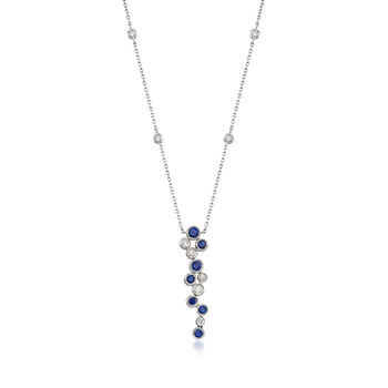 """Gregg Ruth .49 ct. t.w. Sapphire and .22 ct. t.w. Diamond Bubble Bezel-Set Necklace in 18kt White Gold. 16"""""""
