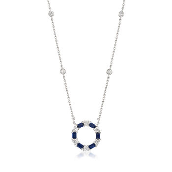 """Gregg Ruth .72 ct. t.w. Sapphire and .44 ct. t.w. Diamond Circle Pendant Necklace in 18kt White Gold. 16"""""""