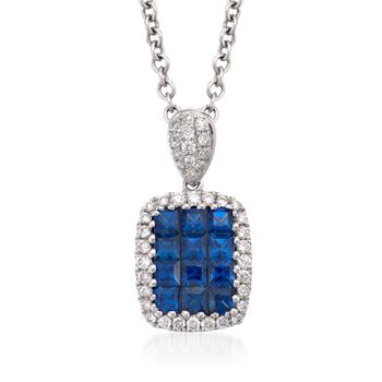 """Gregg Ruth .71 Carat Total Weight Sapphire and Diamond Necklace in 18-Karat White Gold. 16"""""""