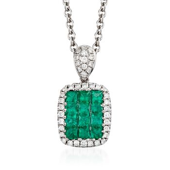 """Gregg Ruth .45 Carat Total Weight Emerald and Diamond Necklace in 18-Karat White Gold. 18"""""""