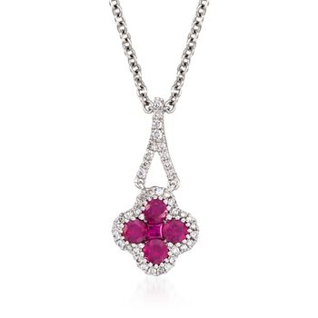 """Gregg Ruth .51 ct. t.w. Ruby and .12 ct. t.w. Diamond Pendant Necklace in 18kt White Gold. 16"""""""
