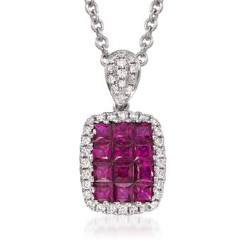 """Gregg Ruth .70 Carat Total Weight Ruby and Diamond Necklace in 18-Karat White Gold. 16"""""""