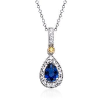 """Simon G. .53 Carat Sapphire and .16 Carat Total Weight Diamond Necklace in 18-Karat Two-Tone Gold. 17"""""""