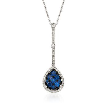 Simon G. .80 Carat Total Weight Sapphire and 0.27 Diamond Pendant. 17""