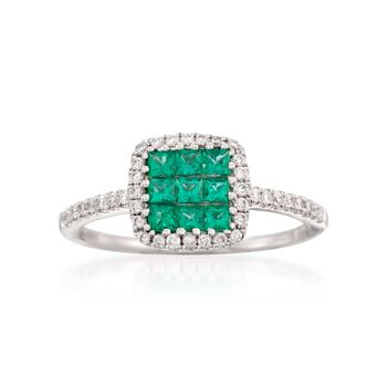Gregg Ruth .38 ct. t.w. Emerald and .21 ct. t.w. Diamond Ring in 18kt White Gold
